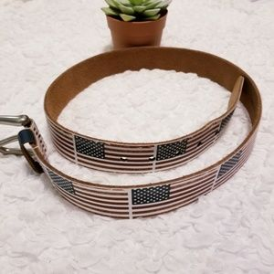 Other - Genuine Leather American Flag Belt Size 36